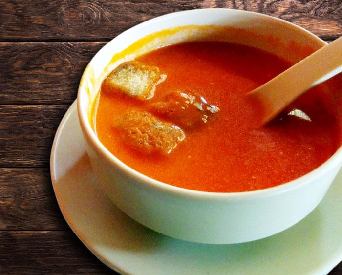 Homemade tomato soup with cream