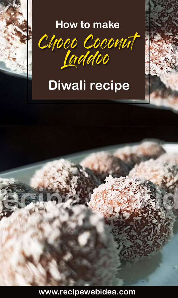 Choco Coconut Laddoo recipe | coconut ladoos | chocolate coconut ladoos
