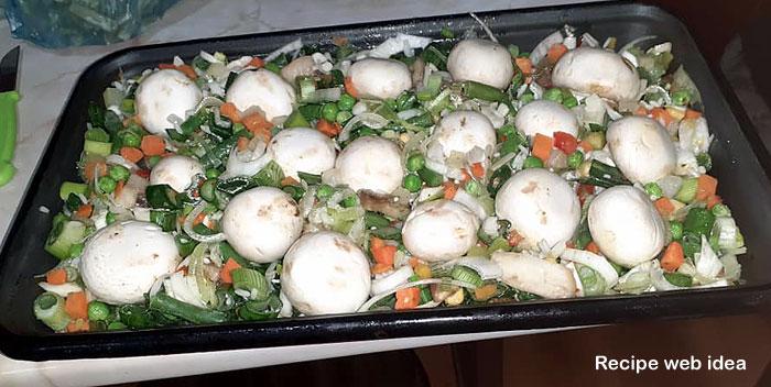 Roasted mushrooms with vegetables